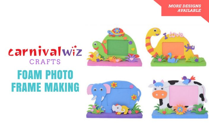 Picture of 3D art and craft photo frame artpiece made using colorful cut foam sheets Picture of DIY design on pin badge kids art and craft activity singapore carnival
