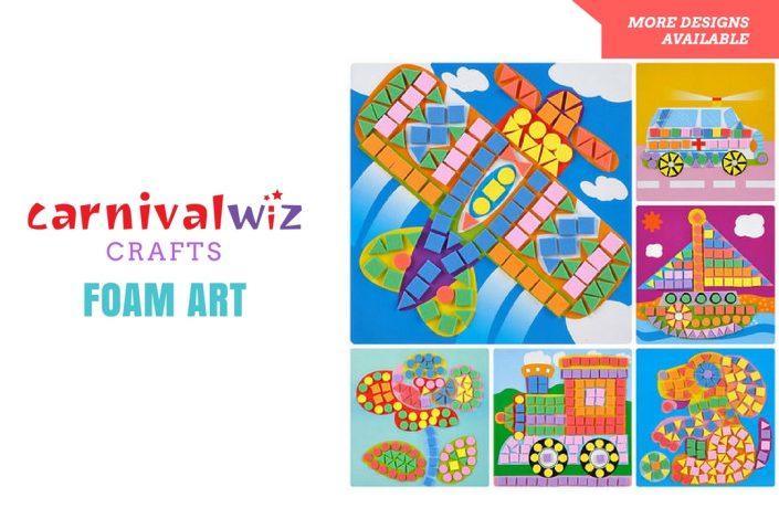 Picture of 3D art and craft artpiece made using colorful foam stickers kids art and craft activity singapore carnival