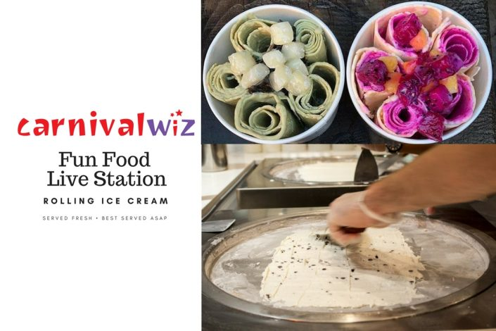 Thailand styled rolling ice cream pasar malam food old school traditional carnival snacks