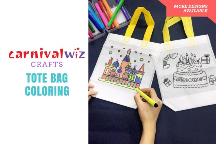adults and kids carnival diy activity tote bag colouring