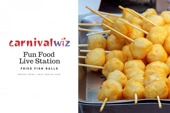 Fried fish balls on sticks in pasar madam and fun fairs ready to be served