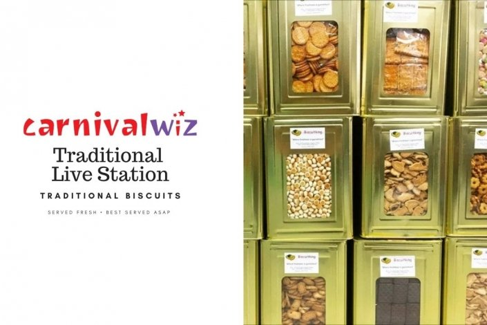 Pasar malam fun fair carnival snack live stall vendors traditional old school biscuit tin