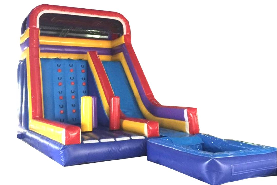 rock wall bouncy castle wet slide swimming pool