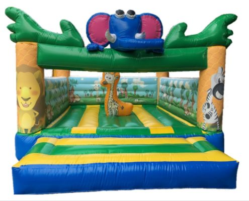 Cheap Large african animals jungle forest themed bouncing castles with slide for carnivals, parties, birthdays, celebrations, family days and events rent or hire
