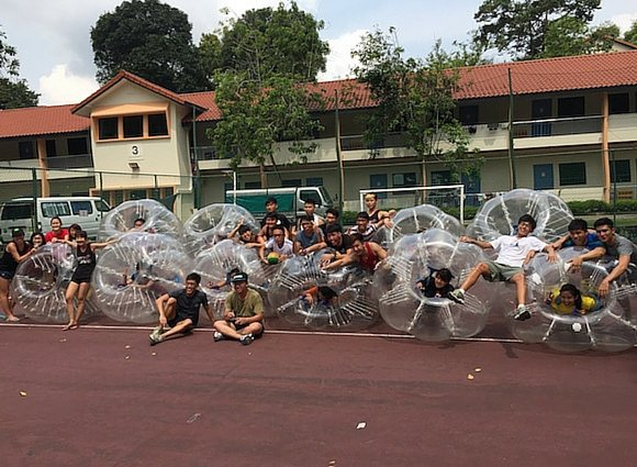 Big Round bubble ball - Photo of Team Building in NTU playing bubble Soccer or bumper ball in Singapore