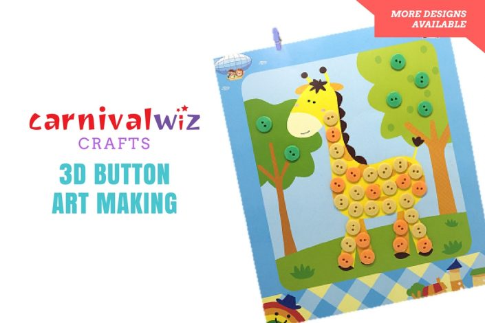 Picture of 3D art and craft artpiece made using colorful buttons kids art and craft activity singapore carnival