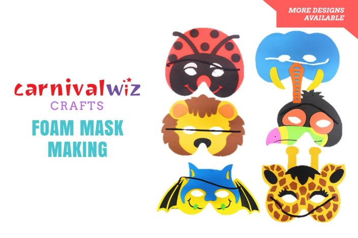 Picture of 3D mask shaped art and craft made using colorful cutout foam sheets