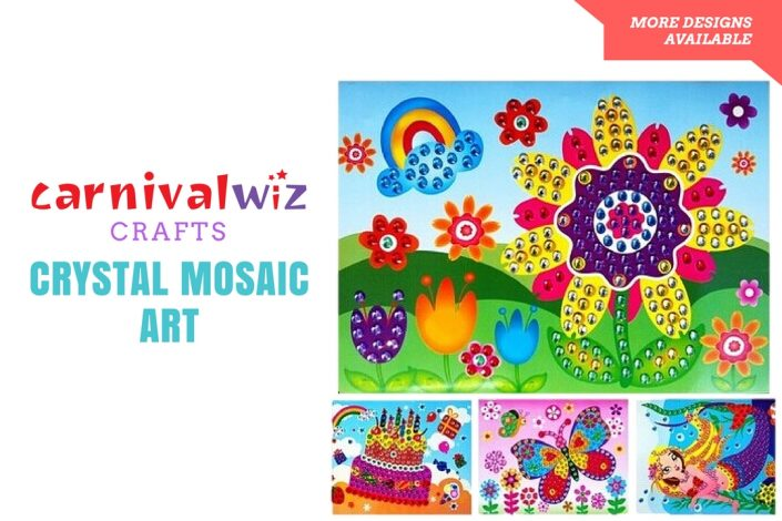 Picture of 3D art and craft artpiece made using colorful crystal bits kids art and craft activity singapore carnival