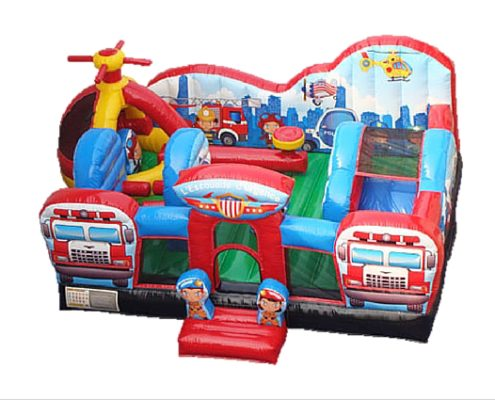 Picture of large size rescue squad themed bouncing castle with slide. Rescue team includes fire truck, fire engine, helicopter, ambulance, police car in Singapore