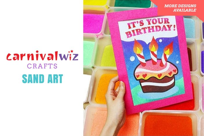 Picture of art and craft artpiece made using colorful sand kids art and craft activity singapore carnival