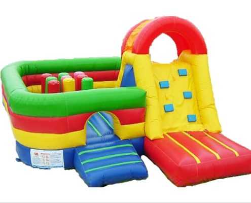 Picture of inflatable bouncy castle in Toddler friendly multiple colours with slide for rent in Singapore
