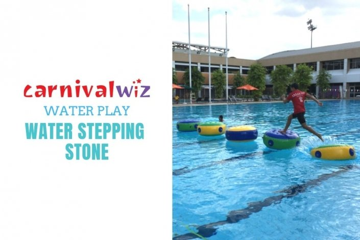 inflatable water stepping stones on swimming pool in Singapore