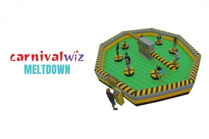Meltdown demolition knock out and wipe out inflatable for rent or hire in Singapore team building and carnival