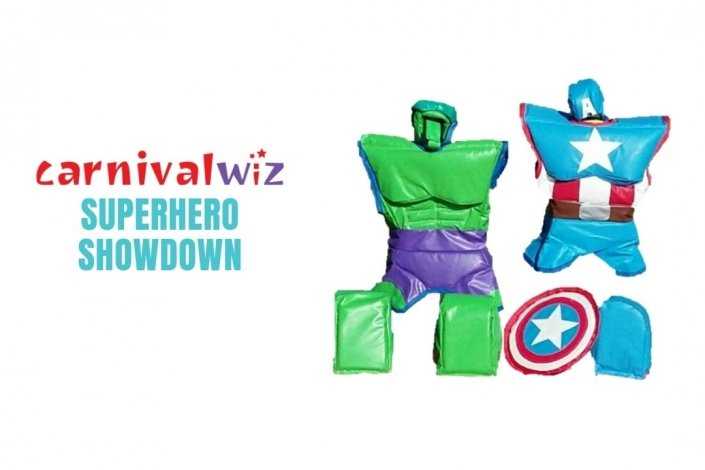 sumo wrestling with superhero foam suits for rent or hire in Singapore team building or carnival, party games