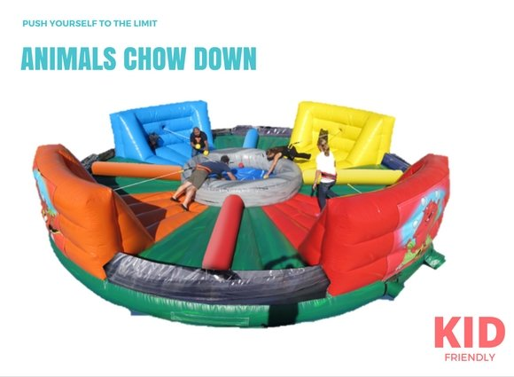 Inflatable hippo animal chow down hungry animals bungee run for rent or hire in Singapore
