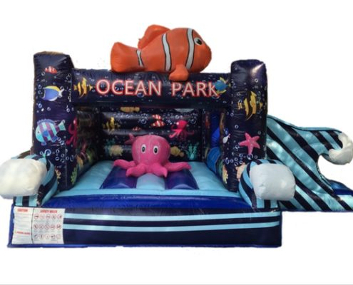 Cheap Large ocean underwater deep sea themed bouncing castles with slide for carnivals, parties, birthdays, celebrations, family days and events rent or hire