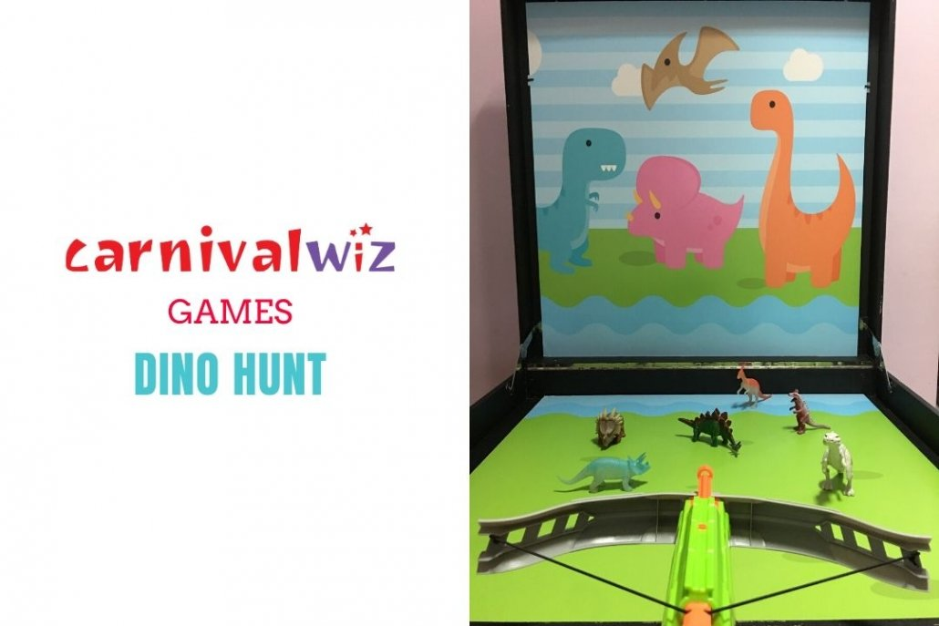 fun fair dinosaurs shooting and hunting carnival style fun booth for event rental singapore