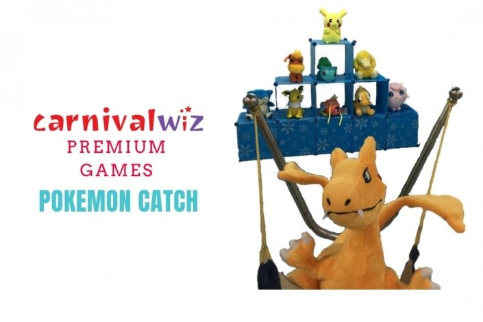 fun fair pokemon toss and shoot in carnival style booth for event rental singapore