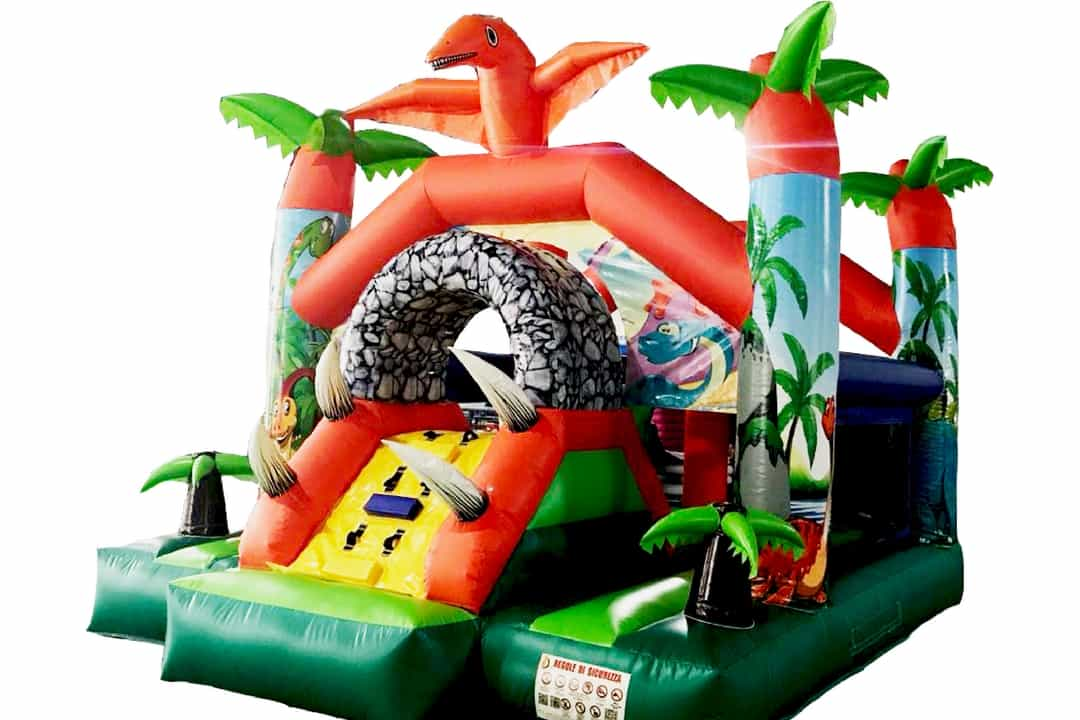 dinosaur themed inflatable school carnival bouncing castle rental