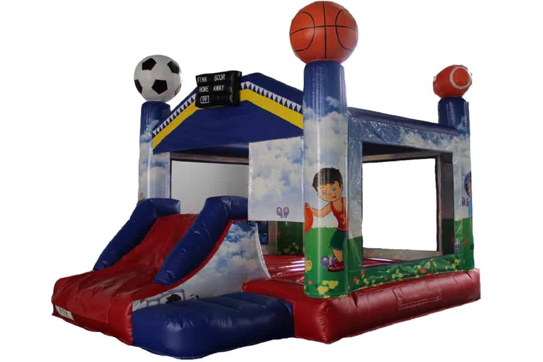 sports themed inflatable school carnival bouncing castle rental