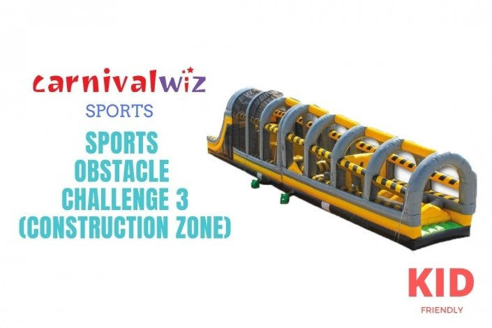 Cover of construction themed inflatable obstacle course rental in Singapore