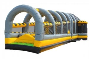 Front view of construction themed inflatable obstacle course rental in Singapore