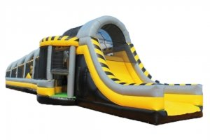 Rear view of construction themed inflatable obstacle course rental in Singapore
