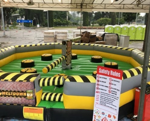 mechanical wipeout rotating rods inflatable spinning jump game knockout
